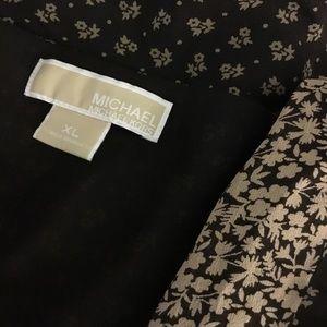 Michael Kors Brown Calico Print Silk Boho Top XL